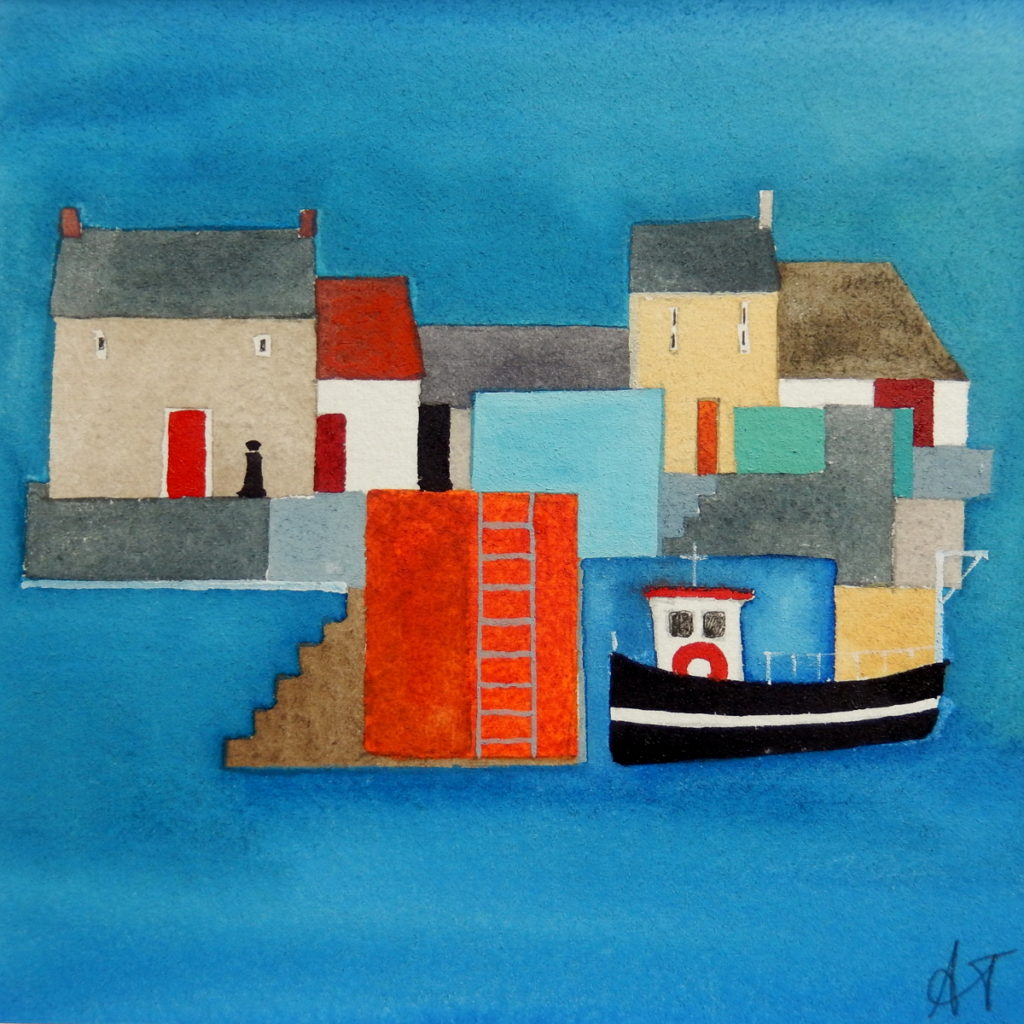 Quay Side, 12'' x 12'', watercolours, £165