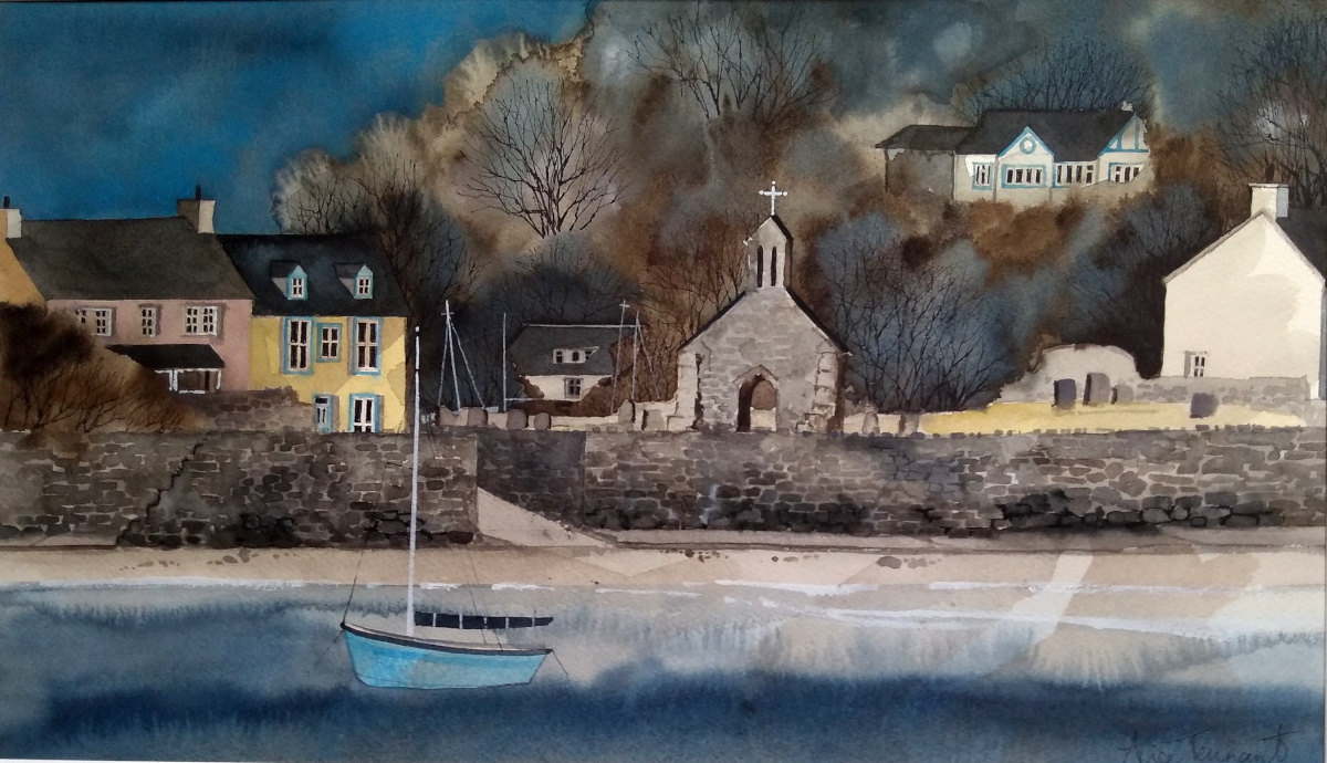 water colour painting Cwm yr Eglwys Pembrokeshire